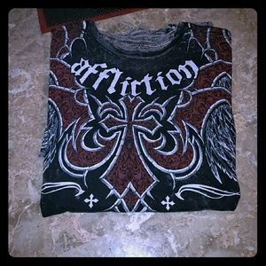 Mens Affliction REVERSIBLE Graphic Tee